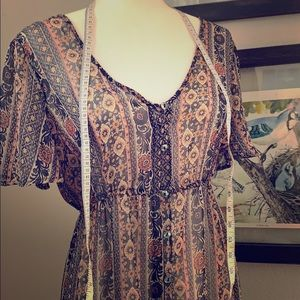 Xhiliration S/M sheer boho fall maxi dress